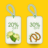 Sale tags for Happy St. Patricks Day celebration. Stock Photo