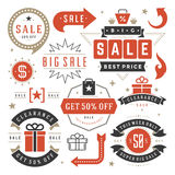 Sale Tags and Labels Design Vector Vintage Set for Banners Stock Image