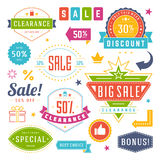 Sale Tags and Labels Design Vector Vintage Set for Banners Stock Photo