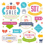 Sale Tags and Labels Design Vector Vintage Set Royalty Free Stock Photos