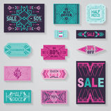 SALE Tags and Labels. Tribal and Aztec Style - in vector Royalty Free Stock Photo