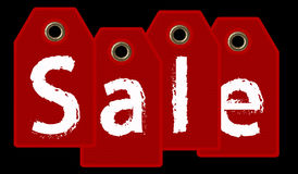 Sale tags A red gift tags with `SALE` text - 3d render on black Stock Photo