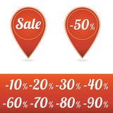 Sale tags in red Royalty Free Stock Photos