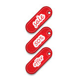 Sale tags. 3 red sale and promotion tags Stock Illustration
