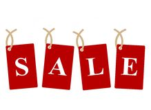 Sale Tags. Red sale tags on white background Stock Photo