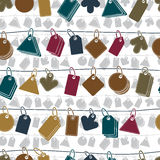 Sale tags on a rope seamless background, vector icons Stock Image