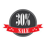 Sale tags. Sale banners. Shopping. Ribbon. 30% sale sign. red. Ribbon labels for discount sales Royalty Free Stock Images