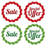 Sale tags set. Red stickers. Icons for shops. Royalty Free Stock Image