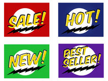 Sale tags, shopping stickers, labels in comic style vector set. Royalty Free Stock Images
