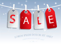 Sale tags. On a snow background Stock Photo