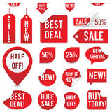 Sale Tags and Stickers Set. Set of red sale tags and stickers isolated on white background.  Eps10 file with transparency Stock Images