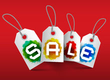 Sale Tags. Vector Business Labels. With Strings and Colorful Splashes on Red Background Royalty Free Stock Image