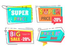 Sale Tags Vector Icons Arrows and Rectangle Square. Sale tags arrows and rectangle square signs vector emblems. Super price big discount 20 off set of stickers vector illustration