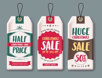 Sale tags vector set and labels for Christmas season hanging  in white paper. With discount text like half price, huge sale and 50% off. Vector illustration Royalty Free Stock Image