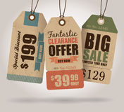 Sale Tags. Vintage Style Sale Tags Design Stock Photo