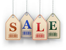 Sale tags on white  background. Stock Photos