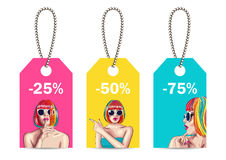 sale tags with woman wearing colorful wig Royalty Free Stock Photo