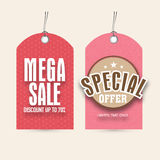 Sale tags for Women's Day celebration. Stock Photos