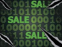 Cyber Monday Sale. Sale technology background for cyber monday with computer code Stock Photos