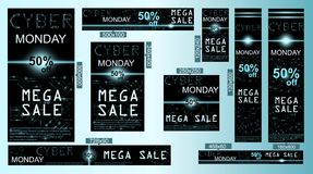Sale technology banner for cyber monday. Sale technology banner. Cyber monday sales web elements with banners and discounts. Eps10 vector illustration Stock Photo