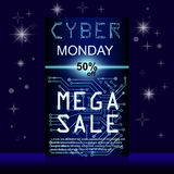 Sale technology banner for cyber monday. Sale technology banner. Cyber monday sales web elements with banners and discounts. Eps10 vector illustration Royalty Free Stock Photography