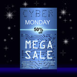 Sale technology banner for cyber monday. Sale technology banner. Cyber monday sales web elements with banners and discounts. Eps10 vector illustration Stock Photography