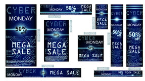 Sale technology banner for cyber monday Royalty Free Stock Photography