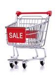Sale tecken på shoppingvagnen Royaltyfri Fotografi
