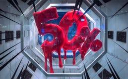 Sale tecken 50 procent rabatt på en kosmisk modern bakgrund Arkivbild
