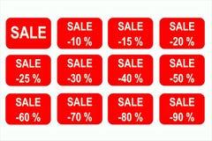 Sale-tecken symboler små procent för symboler from-10 to-90 stock illustrationer