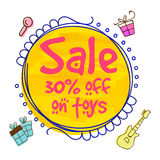 Sale Template, Banner or Flyer design. Sale Template, Sale Banner, Sale Flyer, 30% off on Toys, Creative  illustration Stock Photo