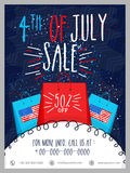 Sale Template, Banner or Flyer for 4th of July. 4th of July, Sale Template, Sale Banner, Sale Flyer, 50% Discount. Creative illustration for American stock illustration