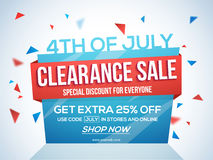 Sale Template, Banner or Flyer for 4th of July. 4th of July Sale Tag, Clearance Sale Paper Banner, Sale Flyer, Special Discount Offer, 25% Off. Vector royalty free illustration