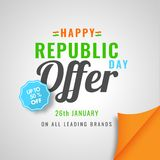 Sale template design upto 50% discount offer for Happy Republic. Day sale royalty free illustration