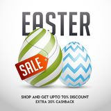 Sale template or poster design with 70% discount offer and extra 20% cashback for Easter celebration. vector illustration