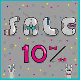 Sale. Ten percents. Artistic font stock images