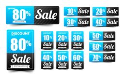 Sale text on blue tag banner set 007. Sale text on blue tag banner for discount offer promotion isolated on white background  illustration eps10 Stock Photos