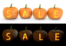 Sale text carved on pumpkin jack lantern Royalty Free Stock Images