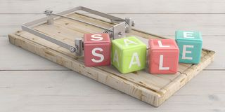 Sale text on colorful cubes and a mouse trap, wooden floor background. 3d illustration. Word sale letters on colorful cubes and a mouse trap, wooden floor Royalty Free Stock Image