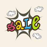 Sale text design with explosion art. Stock Photography