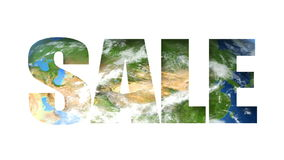 Sale Text Earth (Loop). Sale text revealing turning Earth globe. Seamless loop stock video