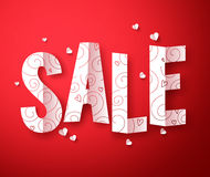 Sale text in folded paper cut for valentines day discount promotion vector Royalty Free Stock Images