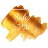Sale 50% - text on golden green background Royalty Free Stock Photo