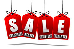 Sale text with hanging tag banner label Stock Images