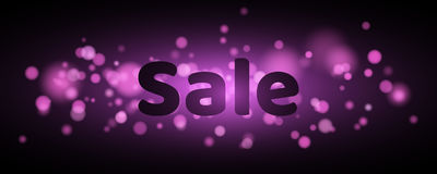 Sale. Text with highlighting. Violet flare bokeh in motion. Celebratory background with purple lights. Footage for the photo Royalty Free Stock Photo