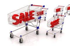 Sale text i shoppingvagnen vektor illustrationer
