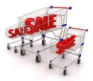 Sale text i shoppingvagnen royaltyfri illustrationer