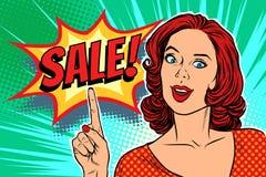 Sale text pop art woman. Retro vector illustration Stock Image