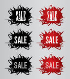 Sale text. On red grunge brush background graphic vector Stock Images