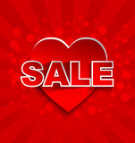 Sale text with red heart Royalty Free Stock Photography